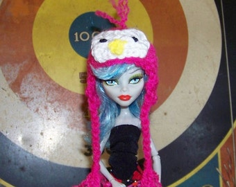 Pink Penguin Hat for Monster High Doll Handmade Beanie with Ties Winter Hat