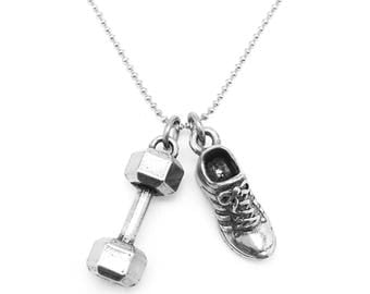 Dumbbell and Running Shoe Necklace - Fitness Jewelry - Workout Necklace - Gym Jewelry - Dumbbell Necklace - Goal Digger Jewelry