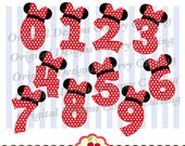 Birthday Numbers 0 through 9 SVG,Minnie numbers 0-9 svg,Birthday numbers Silhouette & Cricut Cut Files MG001-Personal and Commercial Use
