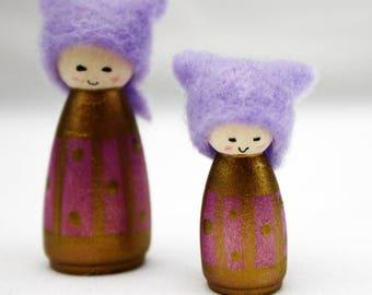 Amethyst Miniature Cornish Pixie Elf Set of Two Wooden Decorations