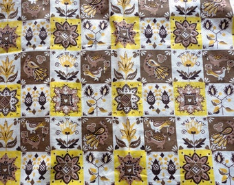yellow and tan colonial print vintage cotton fabric -- 35 wide by 3 yards