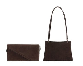 Leather clutch BORA, YVETT // brown suede (Italian calf skin) - FREE shipping