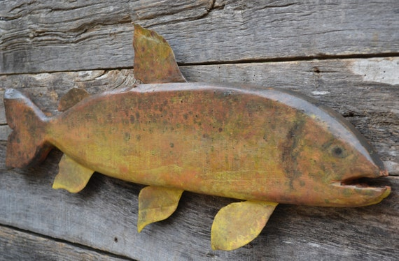 Brown Trout Reclaimed Wood Fish Folk Art Cabin Cottage Wall Hanging