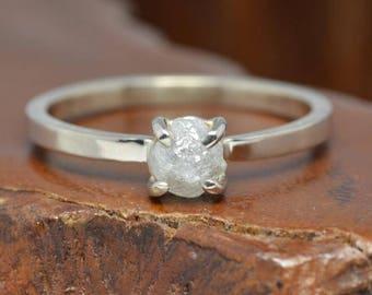 1 Carat Uncut Diamond 14k White Gold Engagement Ring