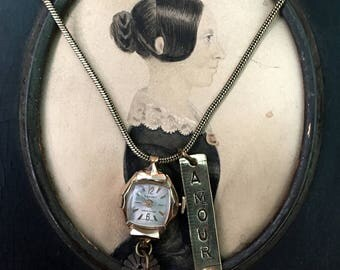 Amour Fou Watch Necklace. Love Writing, antique watch part, tape measure, french, antique reconstructed, vintage assembled, repurp