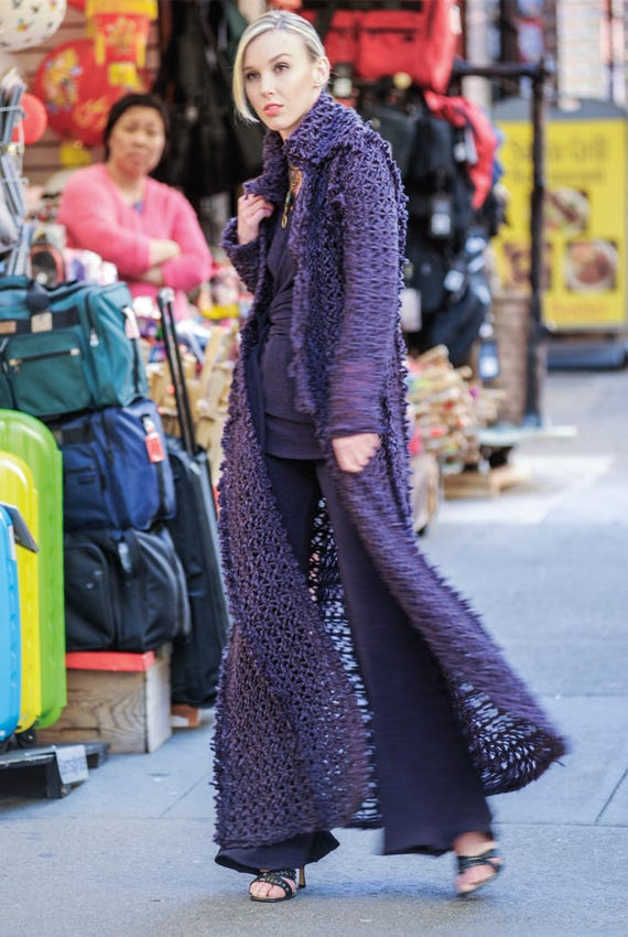 Sweater Coat Long  Purple Cage Napoleon Duster- J-214