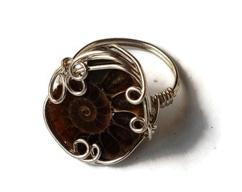 Custom Ammonite Fossil Ring / Ocean Jewelry / Made-to-Order Wire Wrap Ring / Any Size / Ancient Ocean Collection