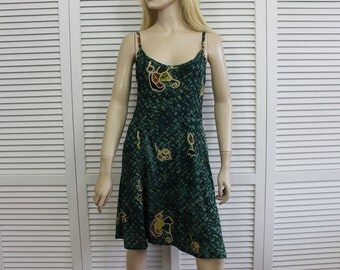 Vintage Batik Mini Dress 90s Grunge Sleeveless Size Small