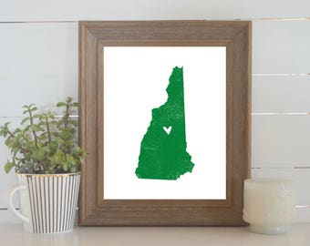New Hampshire Distressed Map Print. Personalized 8x10 State Art Print. Wedding Art. Wedding Gift. Housewarming Gift. New Home Gift.