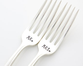 Mr and Mrs hand stamped wedding forks for unique engagement gift.