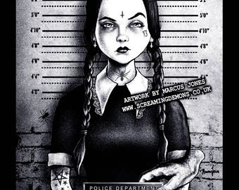 Gothic Art, Wednesday Addams Mugshot art,  Witchcraft, Occult , Witch , Goth, dark Art, Art Print by Marcus Jones