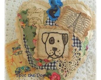 SPOT the Dog- Scented Sachet, patchwork, Primitive, Original, hand drawn, Applique, handstitched, Made in Australia