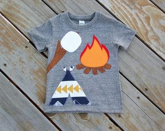 Campfire Shirt, S'mores Shirt, Camping Woodland Shirt, Camping Birthday Shirt, Marshmallow Shirt, Tepee Shirt, Tent Shirt