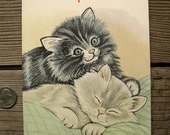 Vintage Cuddly Kittens Writing Tablet - Assorted Baby Kitties Notepad - Little Cats Scratch Pad - Vagabond Creations