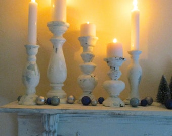 White Candle Holders Wedding Decor Christmas Decoration Shabby Chic Cottage Set of 5 Chippy White Paint