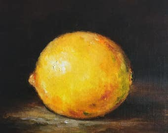 Lemon Still life Original Oil Painting Nina R.Aide Fine Art Fruit Small Painting 7x5 Traditional Classic Art Chiaroscuro
