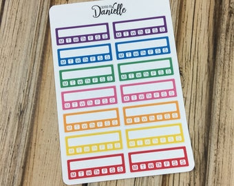 40-50% OFF SALE - Habit Tracker Stickers, Daily Routine Stickers, Weekly Habit Tracker Stickers, Side Bar Stickers, set of 14 - Bold