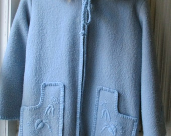 Girl's Vintage Grenfell Coat / 1970s Baby Blue Melton Wool Parka  with Fur Hood / Kanata Duffle / Made in Newfoundland / GIrls Size 6 to 8