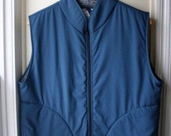 ON SALE Vintage Helly Hansen Puffy Vest / Slate blue and grey zip up winter vest / Unisex size medium