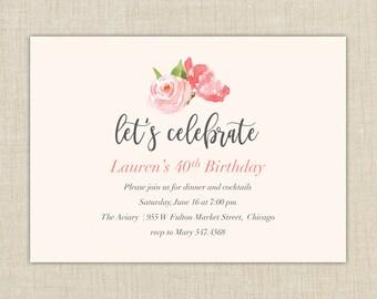 Adult birthday invitations. Watercolor Flower Invitation