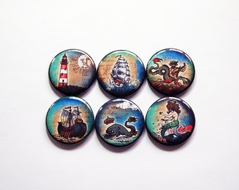 Pirate Magnets, Nautical, Magnets, button magnets, Fridge Magnets, Kitchen Magnets, magnet set, mermaid, lighthouse, whale, seaside (7372)