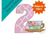 Rose garten tea party first birthday number 2 iron on applique, Pink number two with aqua blue and gold teacup embroidered fabric patch