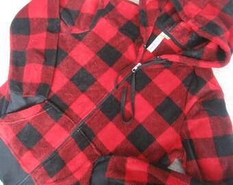 Buffalo Plaid Zip Hoodie Jacket - Soft Fuzzy Fleece - - Hunter Lumberjack Red and Black - Ladies Medium