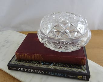 Vintage Cut Glass Vanity Jar ,  Lidded Pot, Powder Jar,  Dresser Jar, Jewellery Box
