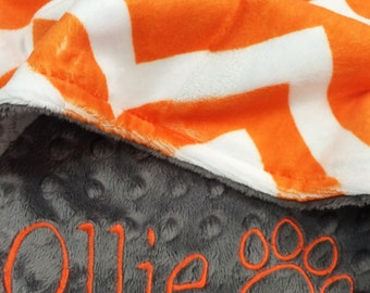 Pet Blanket Orange and White Chevron with Gray Dot Minky Back Personilization included