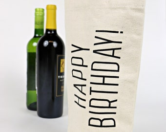 Wine Tote - Recycled Cotton Canvas - Classic Happy Birthday