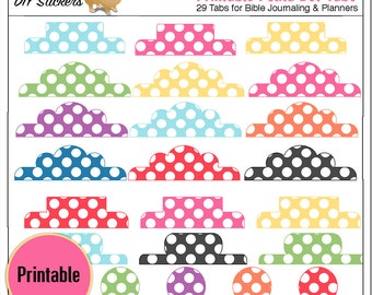 Printable Polkadot Tabs for Bible Journalling or Planners: Add your own Words