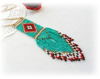 Seed Bead Necklace - Beaded Tribal Necklace - Turquoise  Necklace - Tribal Pendant - Boho Necklace - Ethnic Necklace