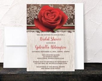 Rustic Rose Bridal Shower Invitations - Wood Lace Floral Red Rose Brown - Printed Invitations