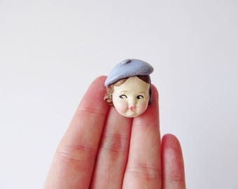 Doll Brooch Edith with a Beret - Handmade Paperclay Doll Pin