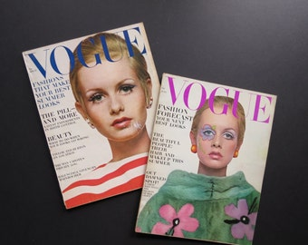Twiggy Vogue Magazine // Vintage Collectible Fashion Magazine with Twiggy Cover Bert Stern Full Issue Retro Advertisements Photographs
