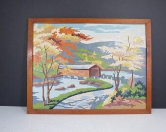 Vintage Paint By Number Covered Bridge Scene // Retro Amateur Framed Art Forest River Landscape Rustic Cottage Decor Colorful Collectible