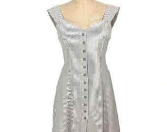 vintage 1980s NORMA KAMALI seersucker dress / white gray / cotton / button front dress / women's vintage dress / tag size 10
