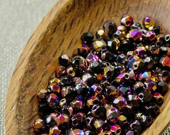 4mm Vitex beads, Black Czech Glass Beads, Vitrail Fire Polished (50) 4mm beads colorful 4mm black beads AB