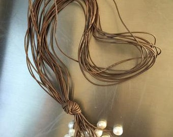 Tan Italian Leather with Cluster Fresh Water Pearls