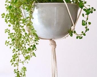 Minimalist modern macrame plant hanger for medium sized pots