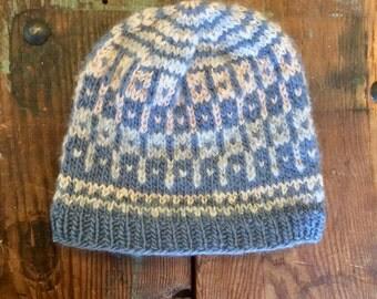 Pastel Purple and Grey Beanie Wool Hat Handknit Vintage