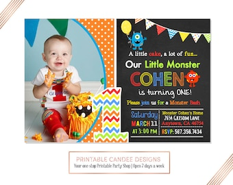 Rainbow Monster Birthday Invitation, Monster Party Invitation, Little Monster Invite, Monster 1st Birthday Invitation, Printable