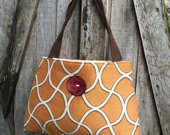 Handbag Purse Tote Bag Shoulder Tote Spice Orange and Cranberry Button