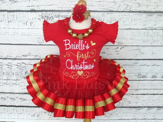 baby girls first christmas outfit christmas tutu set red and