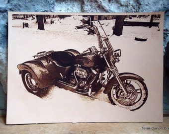Leather Engraved Photo - Your Photo Laser Engraved on Leather 4x6, 5x7 or 8x10