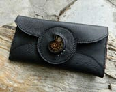 RESERVED Womens Leather Wallet with Ammonite Fossil Black Leather Clutch Wallet with Card Slots and Zipped Coin Pocket