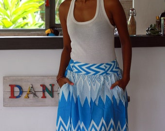 Turquoise and White Skirt / Bridesmaid Skirt / Chevron Midi Skirt / Turquoise Chevron Skirt with Pockets