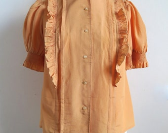 Smocked Lolita Blouse Made in USSR, Soviet Estonia, Ruffled Short Puff Sleeve Shirt, Pin Tucks, Apricot Orange 80's Plus Size Top Large L/XL