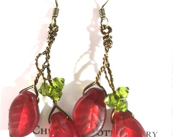 Red and Green Leaf Earrings