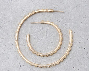 NEW / Dote Hoop Earrings / 1 inch gold hoops / sculptural dot texture / everyday jewelry